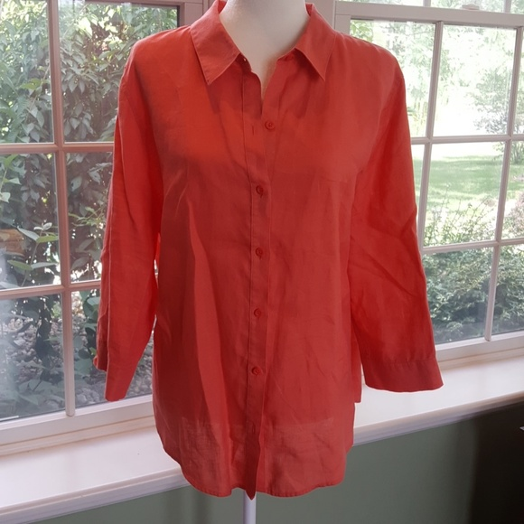 Chico's Tops - Chico's 3/4 Sleeve Linen Blouse